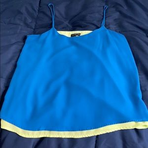 Royal blue with light green under camisole